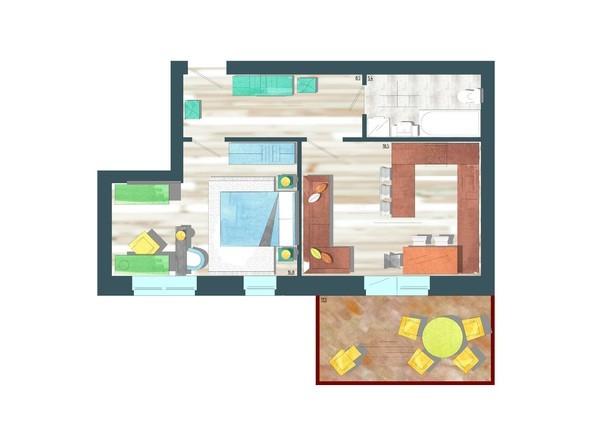 Планировки Жилой комплекс ЖИВЁМ эко-район, 10 квартал, дом 1 - Планировка двухкомнатной квартиры 52,7 кв.м
