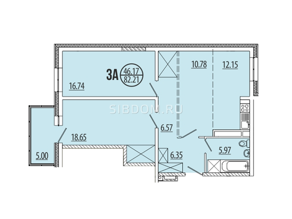 Планировка 3-комн 82,21, 82,34 м²