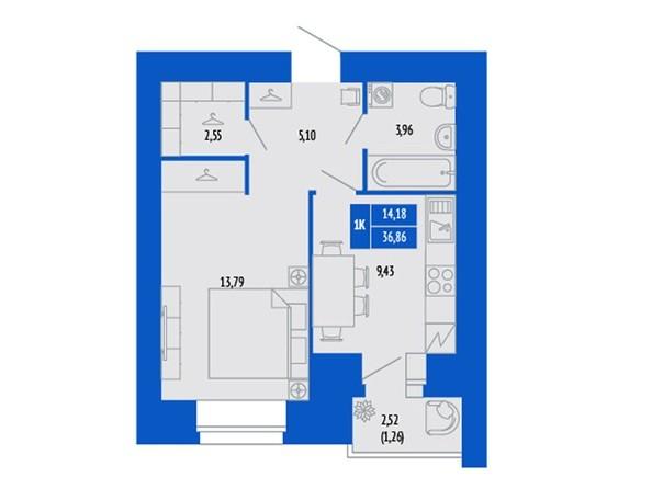 1-комнатная 36.09 - 36.39 кв.м