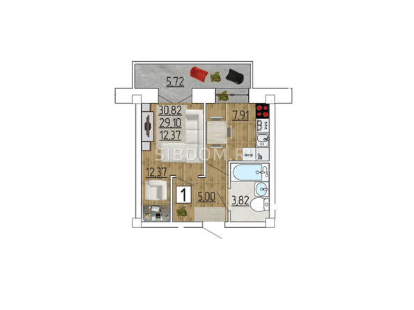 Планировка 1-комн 30,82 м²