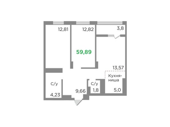 Планировки Жилой комплекс ЯСНЫЙ БЕРЕГ, дом 12 - Планировка трехкомнатной квартиры 59,89 кв.м