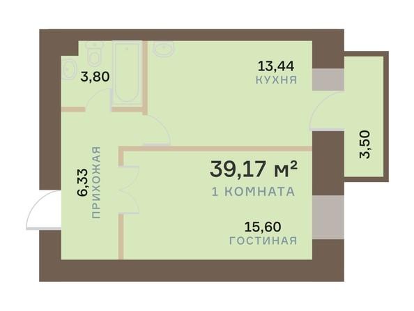 Планировка 1-комн 39,17 м²