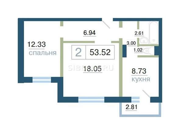 Планировка 2-комн 53 - 53,57 м²