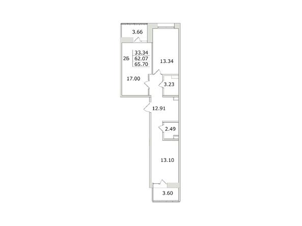 Планировки Жилой комплекс СЕМЬЯ, 1 оч - 2-комнатная 65,7 кв.м