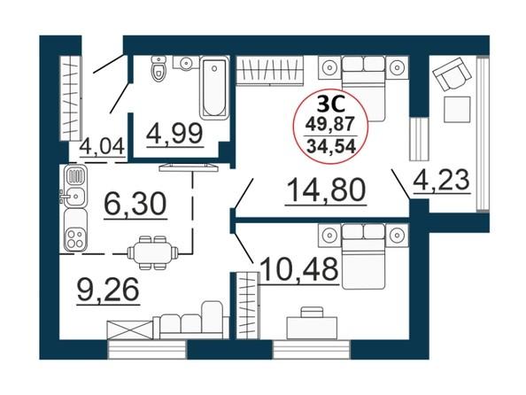 Планировка 3-комн 48,73 - 49,87 м²