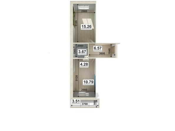 Планировки Жилой комплекс ЮГО-ЗАПАДНЫЙ, б/с 8-10 - Планировка двухкомнатной квартиры 41,43 кв.м