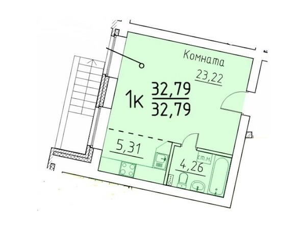 1-комнатная 32.79 кв.м