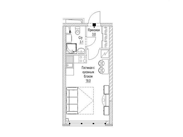 Планировка 1-комн 24,2, 24,5 м²