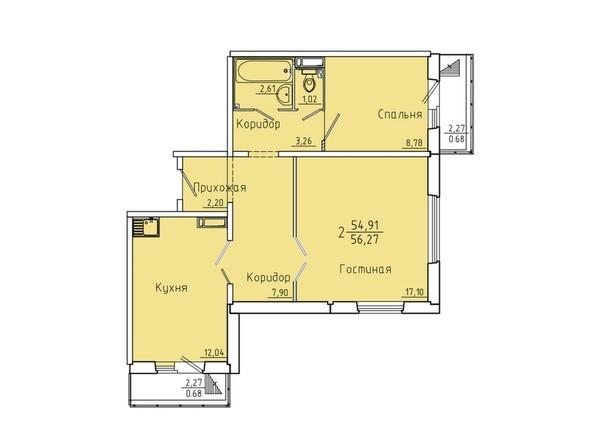 Планировки Жилой комплекс Иннокентьевский, 3 мкр, дом 6 - Планировка двухкомнатной квартиры 56,27 кв.м