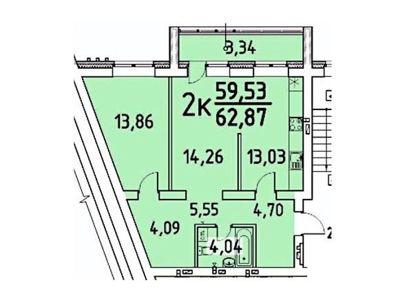 2-комнатная 59.53; 62.87 кв.м