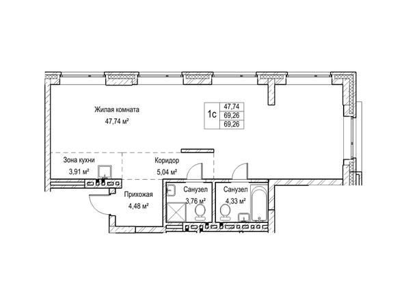 Планировки Жилой комплекс ЯДРИНЦЕВСКИЙ КВАРТАЛ - 1-комнатная студия 69,2 кв.м. Блок-секция 3