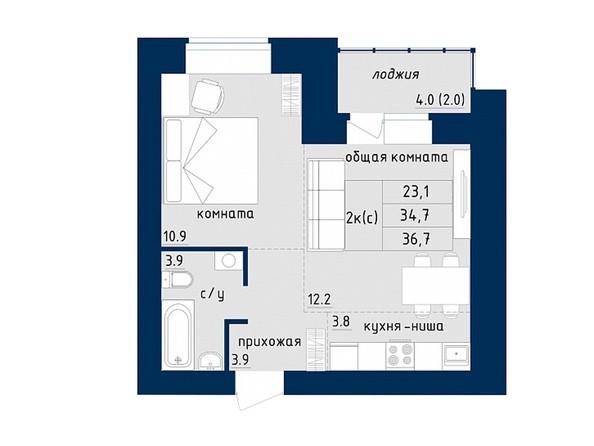 2-комнатная 36.7 кв.м