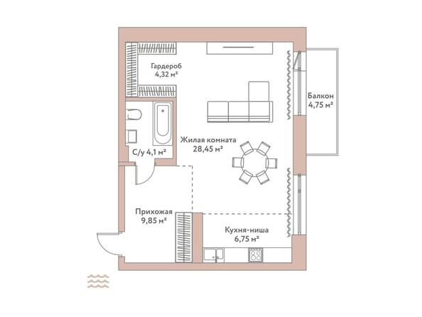Планировка 1-комн 53,47 м²