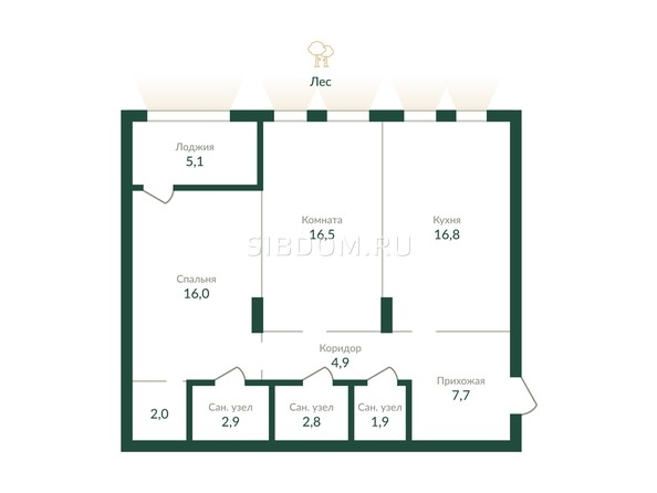 Планировка 2-комн 77,5, 78 м²