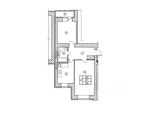 Планировка двухкомнатной квартиры 59,3 кв.м