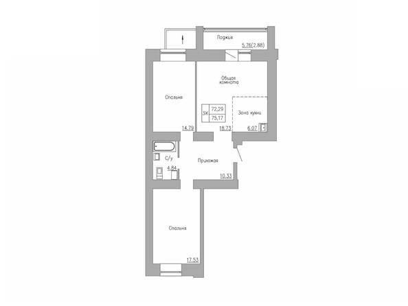 3-комнатная 72.29; 75.17 кв.м