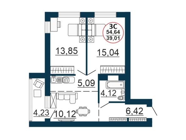Планировка 3-комн 54,294 - 54,64 м²