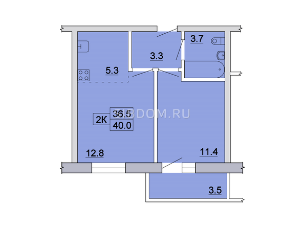 Планировка 2-комн 39,5 - 40,4 м²