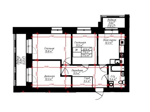 3-комнатная 77.4 кв.м