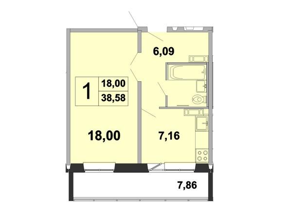 Планировка однокомнатной квартиры 38,58 кв.м
