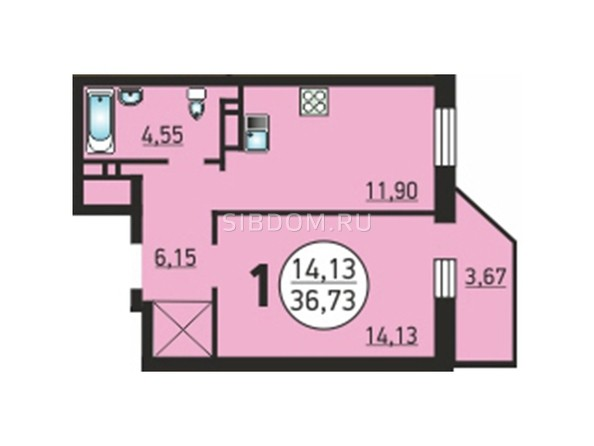 1-комнатная 36,73 кв.м