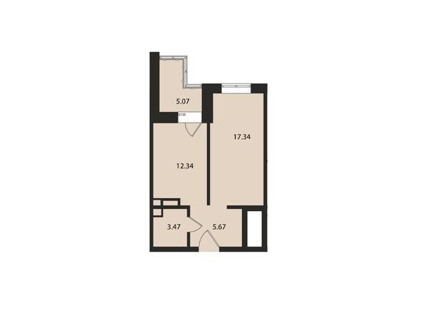 Планировки Жилой комплекс ВДОХНОВЕНИЕ - Планировка однокомнатной квартиры 43,9 кв.м