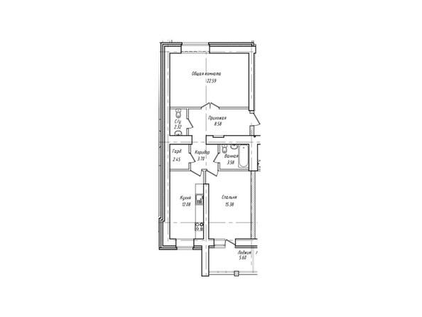 Планировки Жилой комплекс Антона Петрова, 221г - Планировка двухкомнатной квартиры 73,48 кв.м