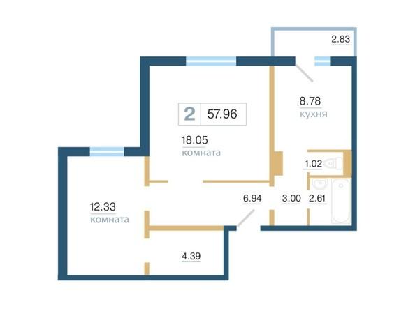 Планировка 2-комн 57,96, 58 м²