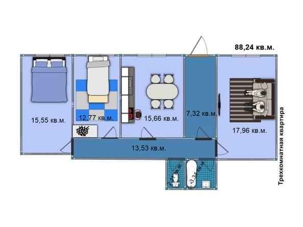 Планировка 3-комн 88,11, 88,24 м²