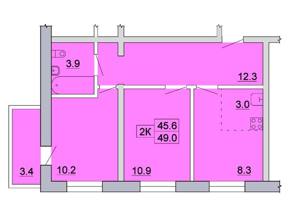 Планировка 2-комн 49 м²