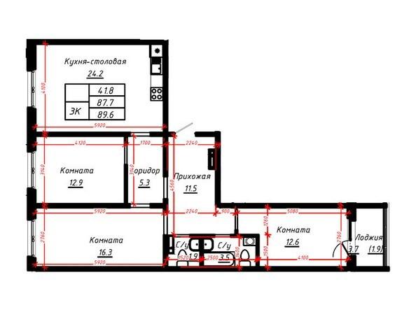 3-комнатная 89,6 кв.м