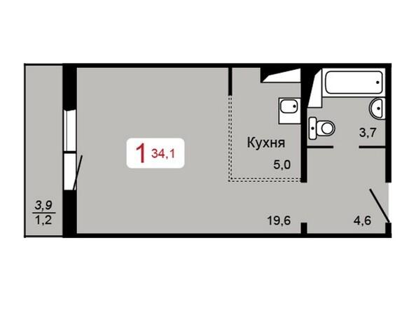 Планировка 1-комн 34,1 м²
