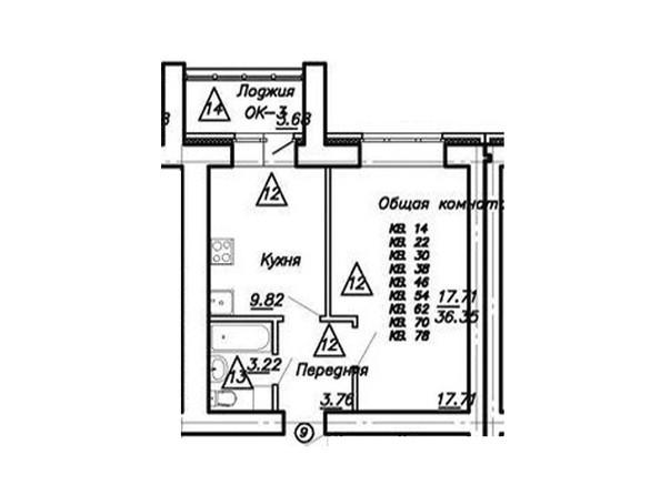 1-комнатная 36.36 кв.м