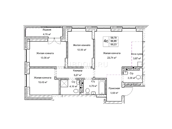 Планировки Жилой комплекс ГУДИМОВ - Планировка четырехкомнатной квартиры 86,8 кв.м