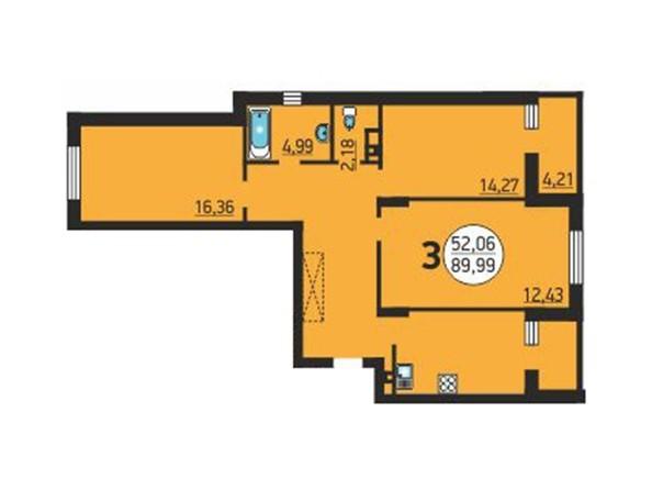 Планировка 3-комнатной квартиры 89,99 кв.м