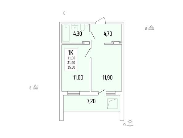 Планировка 1-комн 35,5 м²