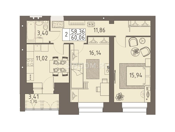 Планировки ВАВИЛОВСКИЙ ДВОРИК - 2-комнатная 60,06 кв.м