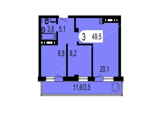 Планировки Жилой комплекс ТИХИЕ ЗОРИ, дом 1 (Красстрой) - Планировка двухкомнатной квартиры 49,5 кв.м
