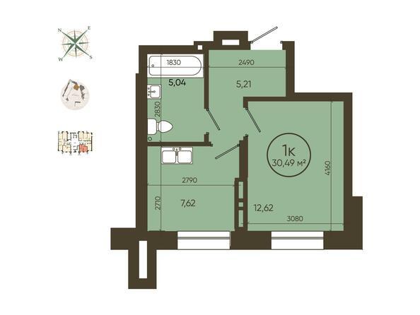 1-комнатная 30,49 кв.м