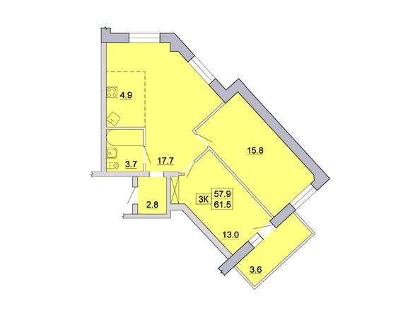 Планировка 3-комн 61,5 м²