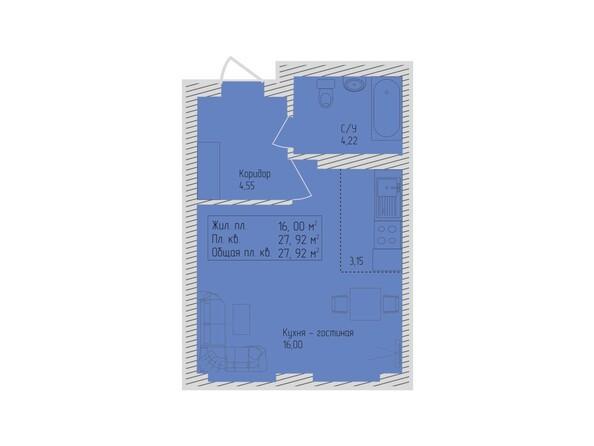 Планировки Жилой комплекс СЕВЕРО-ЗАПАДНАЯ, дом 5 - 1-комнатная 27,92 кв.м