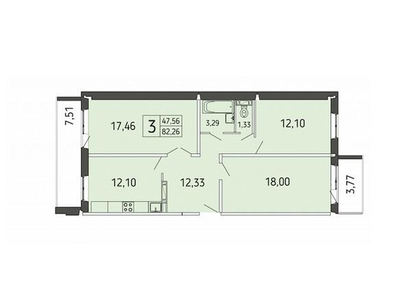 3-комнатная 82,26 кв.м