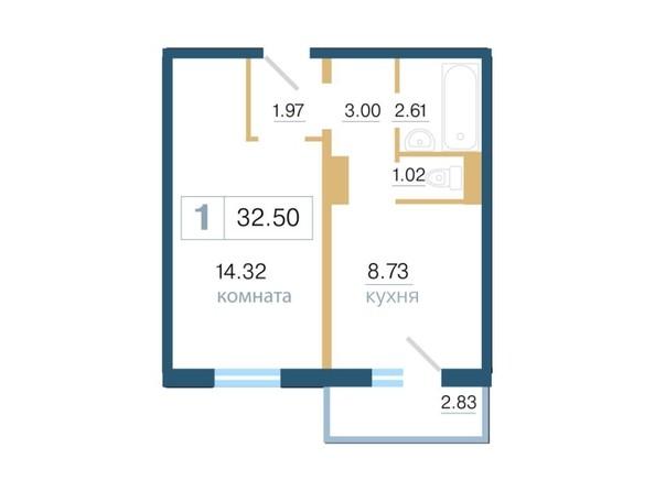 Планировка 1-комн 32,5 м²