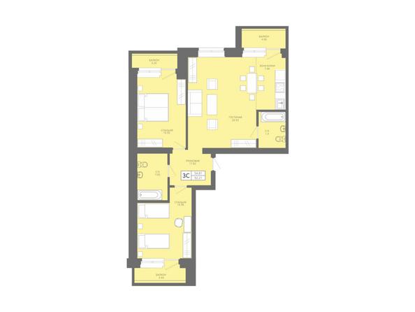Планировки Жилой комплекс Да Винчи, дом 7 - 3-комнатная студия 92,05 кв.м