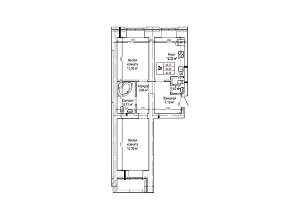 Планировки Жилой комплекс ГРИНАРТ, дом 5 - Планировка двухкомнатной квартиры 60,6 кв.м.