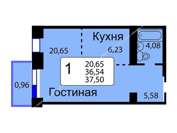 Планировки Жилой комплекс РЯБИНОВЫЙ САД, 3 оч, 2 этап - Б/С - 11. Планировка однокомнатной квартиры 37,50 кв.м. Этажи 10-16.