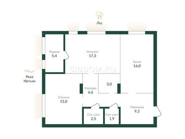 Планировка 2-комн 78,2 - 78,6 м²