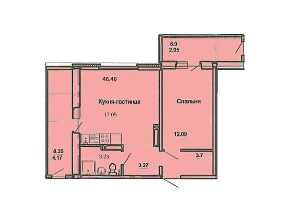 Планировка 2-комн 46,46 м²