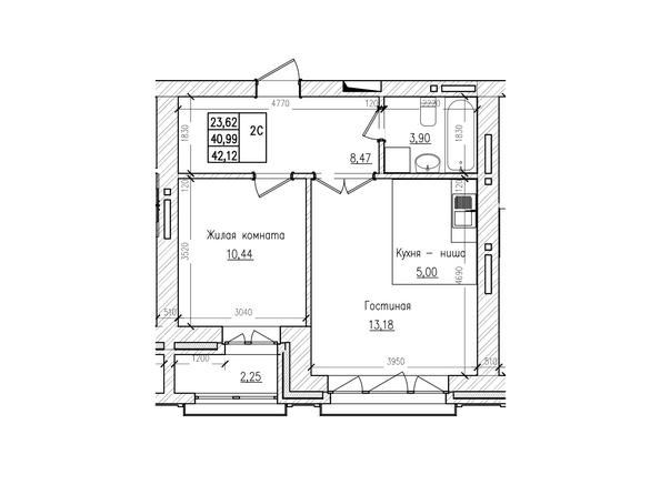 Планировки Жилой комплекс КРАСНЫЙ ПРОСПЕКТ, дом 2 - 2-комнатная 40,9 кв.м