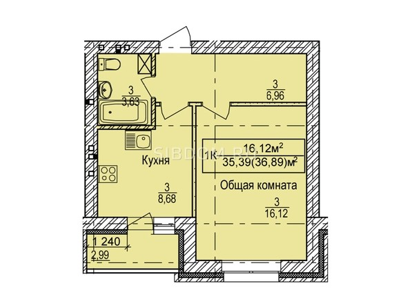 Планировка 1-комн 36,89 м²